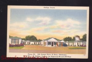 EL RENO OKLAHOMA ROUTE 66 PHILLIPS COURTS GAS STATION LINEN ADVERTISING POSTCARD