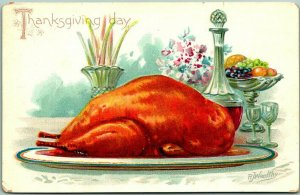 1910s Artist-Signed R.J. WEALTHY Postcard THANKSGIVING DAY Cooked Turkey UNUSED