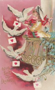 VALENTINE'S, 1901-07; Dressed cupid attaching letters to doves, gold glitter
