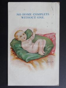 W.Stocker Shaw: Baby on Cushion NO HOME COMPLETE WITHOUT ONE..c1920