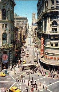 Powell at Market Street San Francisco CA Vintage Postcard Standard View Card