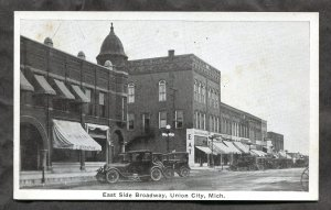 dc413 - UNION CITY Mich 1920s East Side Broadway. Old Cars