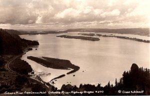 Oregon Columbia River From Crown Point Real Photo