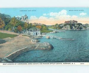 Damaged Trimmed W-Border BOAT LANDING - COMMODORE JAMES MANSION Newport RI d1875