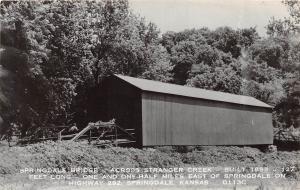 E31/ Springdale Kansas Ks Real Photo RPPC Postcard c50s Covered Bridge 14