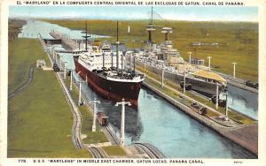 Panama Old Vintage Antique Post Card USS Maryland in middle east chamber Gatu...