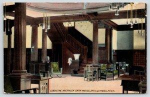 Mt Clemens Michigan~Arethusa Bath House Lobby~Lots of Pillars~Vintage Decor~1911