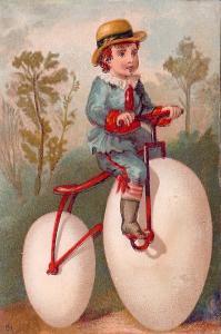 1881 Cincinnati Ohio Trade Card: James Wilde Clothiers, Boy Rides High-Wheeler
