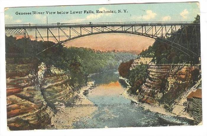 Genesee River view below lower Falls, Rochester, New York,PU-00-10s