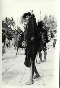 indonesia, NIAS, Native Warrior Shield Spear (1930s) Real Photo (10)