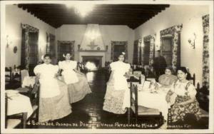 Patzcuaro Mich Mexico Restaurant Interior Waitresses Real Photo Postcard