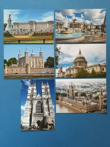 Set of 6 London Postcards UK England City Travel Landscape View