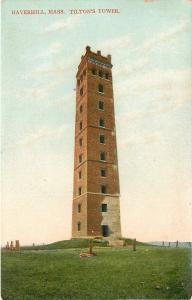 Haverhill Massachusetts~War Damaged? Tilton's Tower on Silver Hill~1910 Postcard