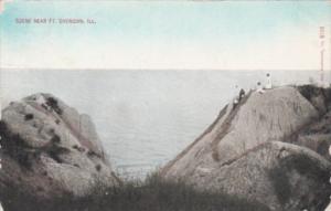 Illinois Coastal Scene Near Fort Sheridan 1911