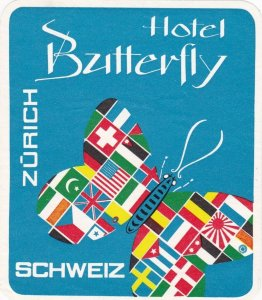 Switzerland Zurich Hotel Butterfly Vintage Luggage Label sk4211