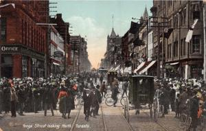 TORONTO ONTARIO CANADA YONGE ST LOOKING NORTH~HORSE PULLED TROLLEY POSTCARD