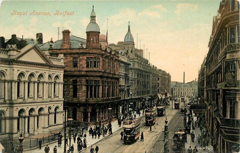 Royal Avenue, Belfast, Ireland Divided Back Postcard. Trolleys. Trams Streetcars