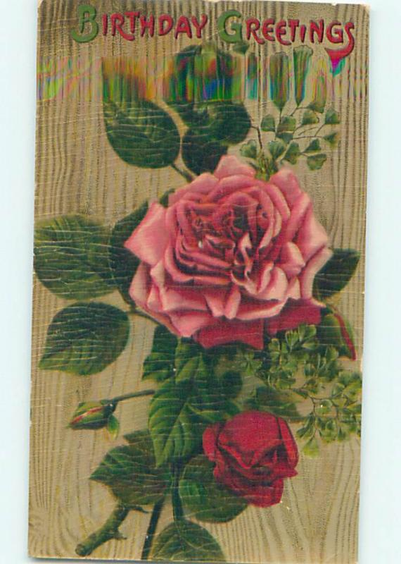 Crackled Surface circa 1910 birthday BEAUTIFUL PINK AND RED ROSE FLOWERS o9086