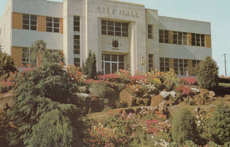 NANAIMO, British Columbia, Canada, 1950-60s; City Hall, rock garden