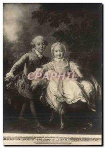 Old Postcard Chevre Paris Louvre Museum Drouais Count d & # 39Artois and sister