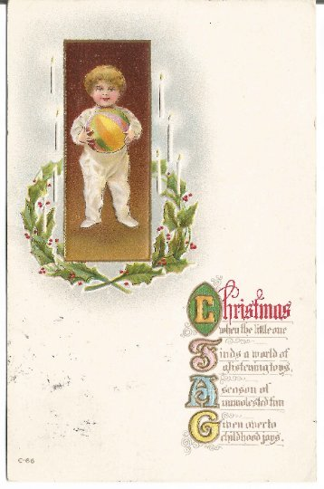 Little Boy in Pajamas with Ball Framed with Holly Leaves and Holly Berries Vinta