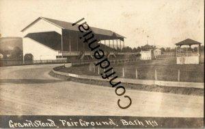 Real Photo Grandstand & Race Track Fairground Bath NY New York RP RPPC D117