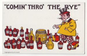 P681 JLs old comic card to much booze, comin thro the rye