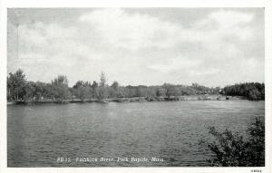 Park Rapids Minnesota~Fishhook River~Road Runs Along Side~B&W 1946 Postcard