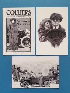 Set of 3 Vintage Motoring Art Postcards by Cavalier Postcards