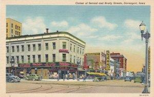 Iowa Davenport Corner Of Second & Brady Streets Curteich sk6391
