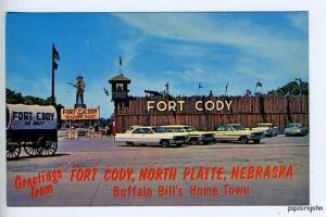 North Platte NE Fort Cody US 30 Old Cars Postcard