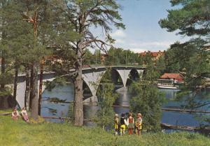 Children by River, Bron over Dalalven, Leksand, Dalarna, Sweden 1960s