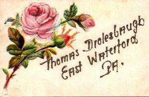 Pennsylvania Greetings From Thomas Drolesbaugh East Waterford With Flowers 1907
