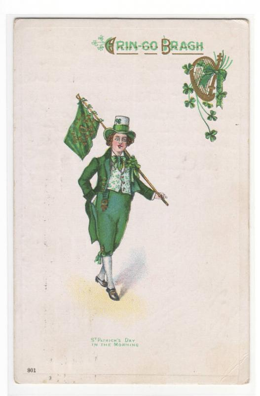 St Patricks Day Man With Flag In The Morning Irish Ireland postcard