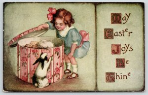 Antoinette Clark Easter~Girl Opens Band Box~Feather Hats~Bunny Peers In~1912 PC