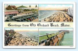 Postcard ME Old Orchard Beach Multiview Greetings c1920s J17