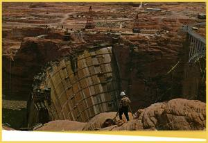 Page, AZ. - Glen Canyon Dam under construction - 1950's