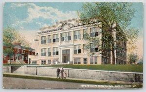Poplar Bluff Missouri~Family Strolls Past High School~c1914 Artist Postcard
