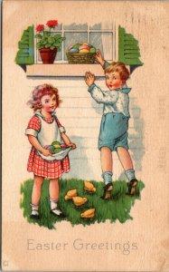 1923 -  EASTER GREETINGS POSTCARD - BOY GIRL EGGS WINDOW - VINTAGE - PC