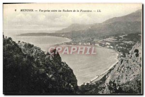 Old Postcard Menton Vue Prize Between The Rocks Of The Border