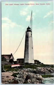 NEW HAVEN, Connecticut  CT   OLD LIGHT HOUSE Light House Point c1910s  Postcard