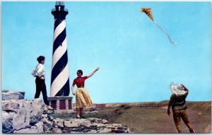 North Carolina Postcard CAPE HATTERA LIGHTHOUSE Girls Kite c1950s Chrome Unused