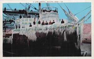 DULUTH, Minnesota, 1930-1940s; A Late Arrival, Ice Covered Ship