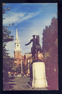 Boston, Massachusetts/MA/Mass Postcard, Paul Revere Statue, Hanover St, 1950!