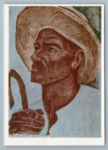 1968 Semertzidis PEASANT MAN in hat Stick Graphic Art Greece Vintage Russian pos