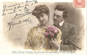 Couple. Romance with roses Nice old vintage French postcard