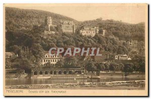 Postcard Old Heidelberg Schloss von der Hirschgasse