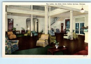 INDIAN SPRINGS, Georgia GA ~ Lobby Interior ELDER HOTEL ca 1940s   Postcard