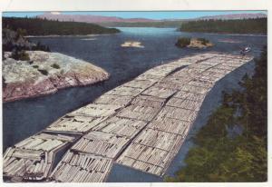PC51 JLs linen postcard huge log raft towboat deception pass