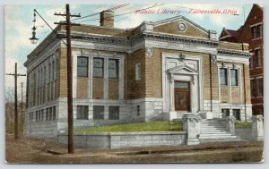 Zanesville Ohio~Carnegie Public Library on 5th Street~Dirt Road~1909 Postcard
